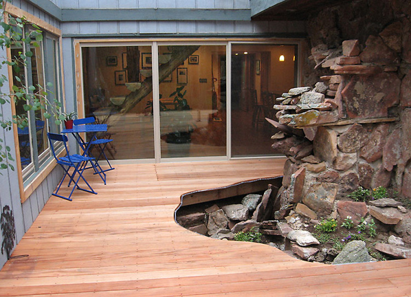 Deck showcasing water feature