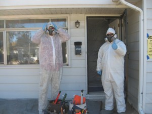 We must wear protective suits and respirators when dealing with lead