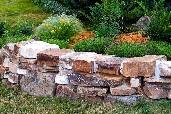 hardscaped rock wall
